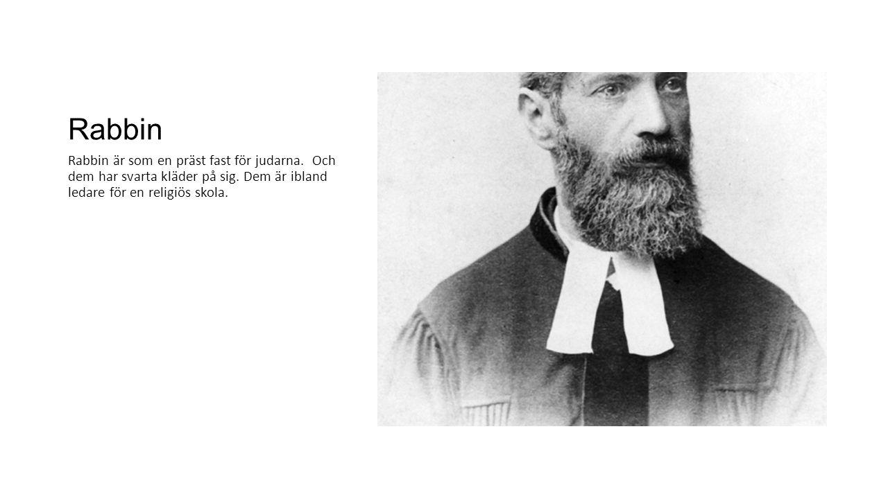 Rabbin Rabbin är som en präst fast för judarna. Och dem har svarta kläder på sig. Dem är ibland ledare för en religiös skola.