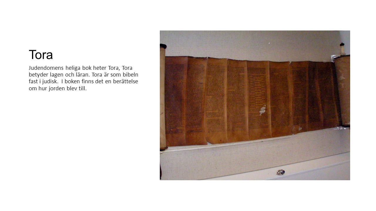 Tora Judendomens heliga bok heter Tora, Tora betyder lagen och läran. Tora är som bibeln fast i judisk. I boken finns det en berättelse om hur jorden