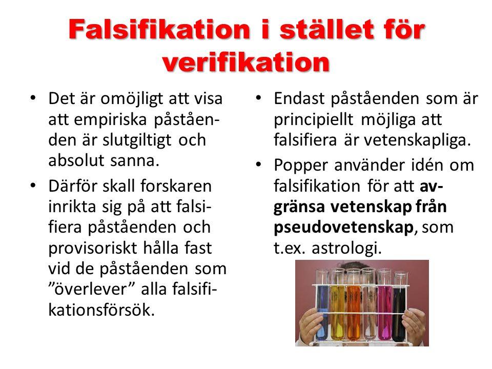Falsifikation i stället för verifikation Det är omöjligt att visa att empiriska påståen- den är slutgiltigt och absolut sanna. Därför skall forskaren