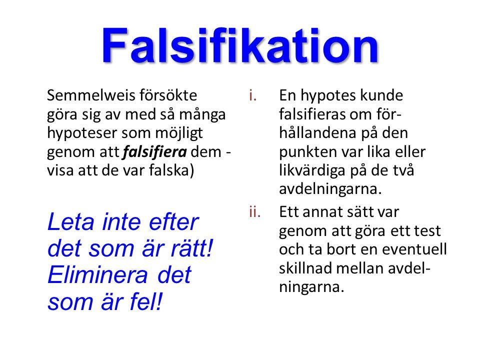 Falsifikation Semmelweis försökte göra sig av med så många hypoteser som möjligt genom att falsifiera dem - visa att de var falska) Leta inte efter de
