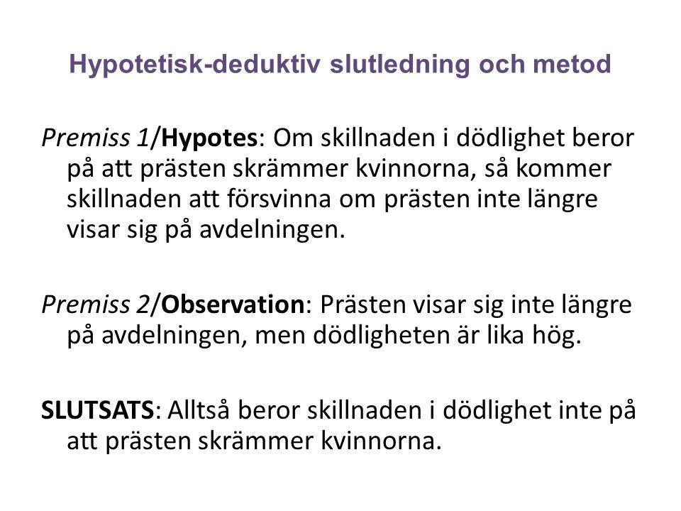 Hypotetisk-deduktiv slutledning och metod Premiss 1/Hypotes: Om skillnaden i dödlighet beror på att prästen skrämmer kvinnorna, så kommer skillnaden a