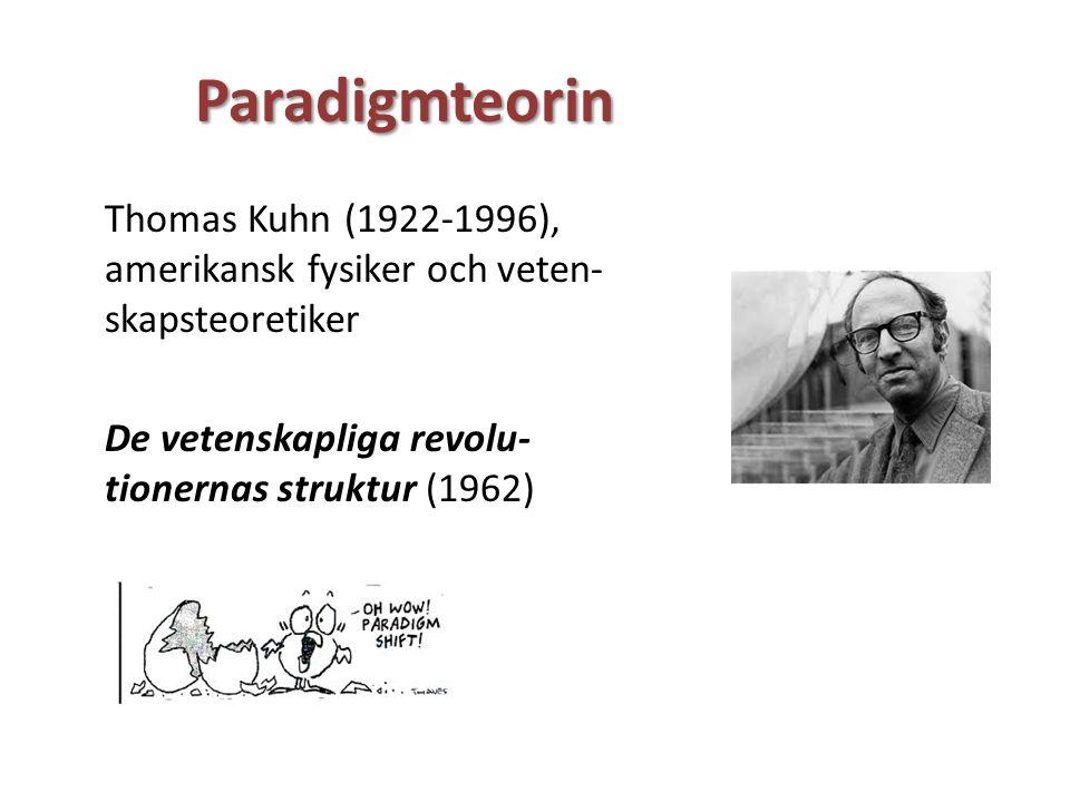 Paradigmteorin Thomas Kuhn (1922-1996), amerikansk fysiker och veten- skapsteoretiker De vetenskapliga revolu- tionernas struktur (1962)