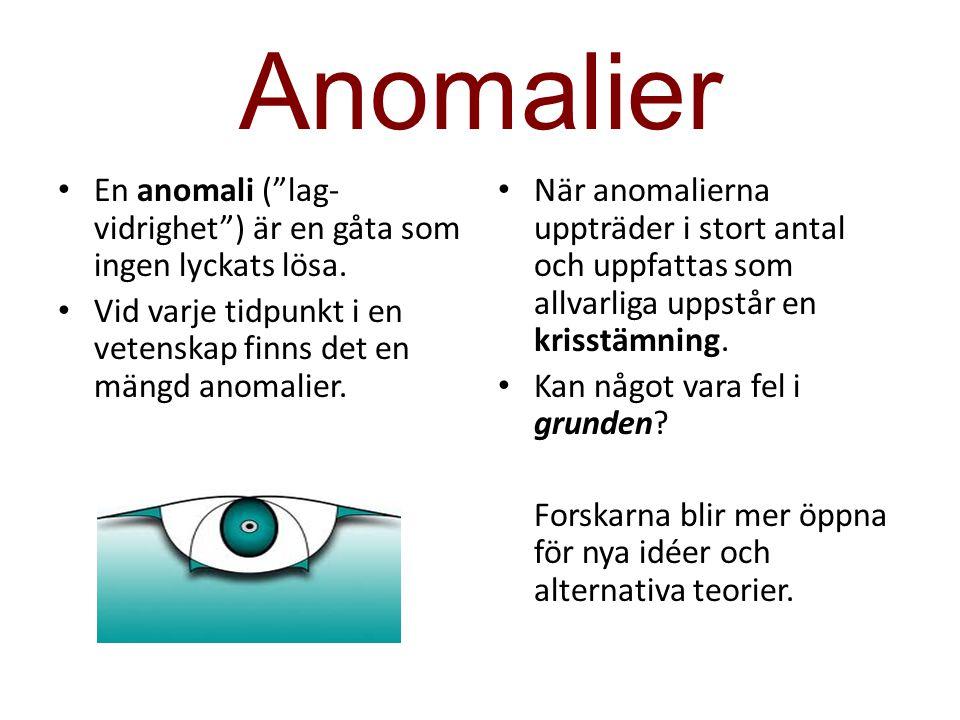 """Anomalier En anomali (""""lag- vidrighet"""") är en gåta som ingen lyckats lösa. Vid varje tidpunkt i en vetenskap finns det en mängd anomalier. När anomali"""