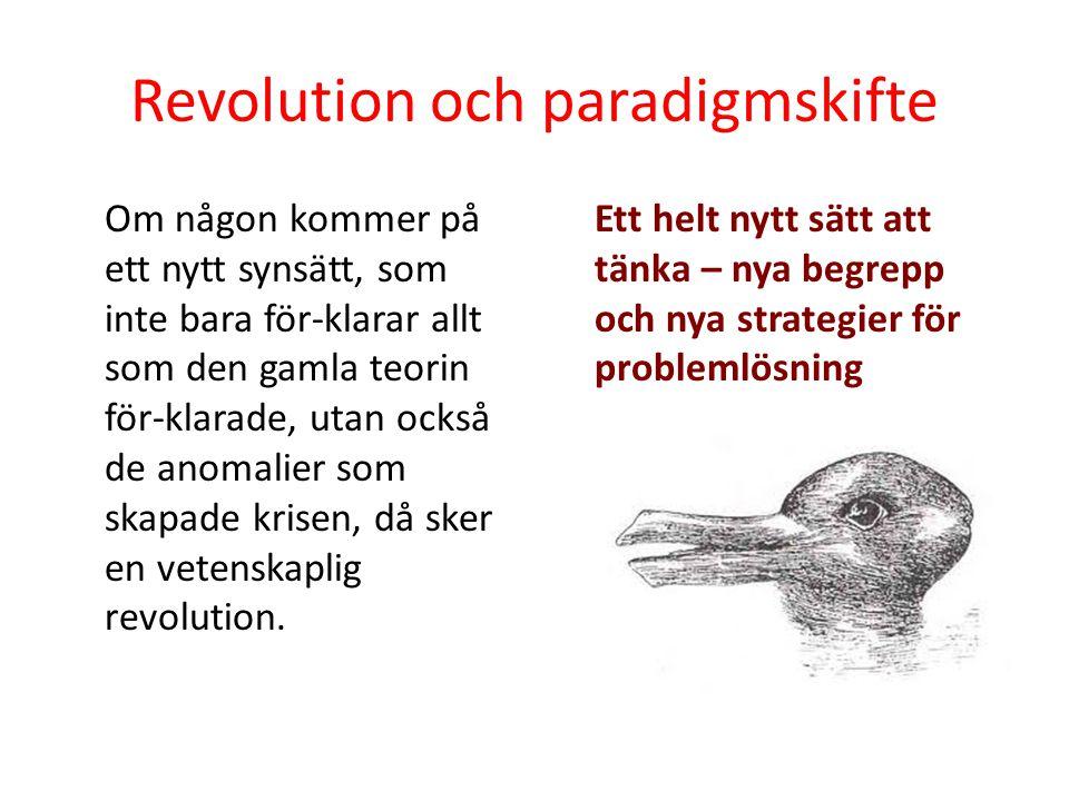 Revolution och paradigmskifte Om någon kommer på ett nytt synsätt, som inte bara för-klarar allt som den gamla teorin för-klarade, utan också de anoma