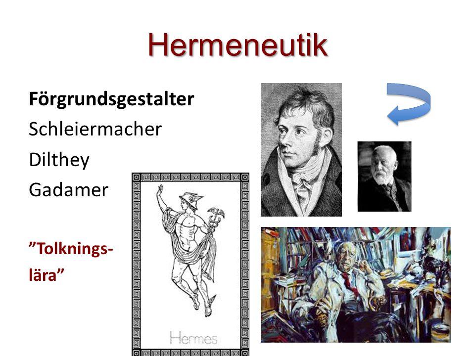 """Hermeneutik Förgrundsgestalter Schleiermacher Dilthey Gadamer """"Tolknings- lära"""""""