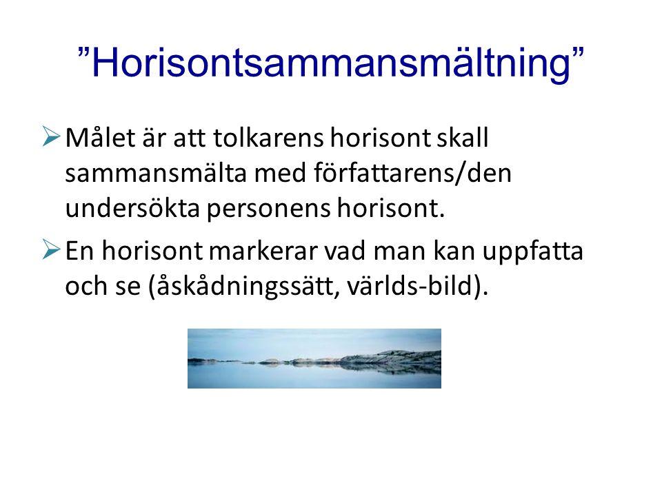 """""""Horisontsammansmältning""""  Målet är att tolkarens horisont skall sammansmälta med författarens/den undersökta personens horisont.  En horisont marke"""