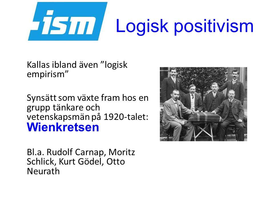 """Logisk positivism Kallas ibland även """"logisk empirism"""" Synsätt som växte fram hos en grupp tänkare och vetenskapsmän på 1920-talet: Wienkretsen Bl.a."""