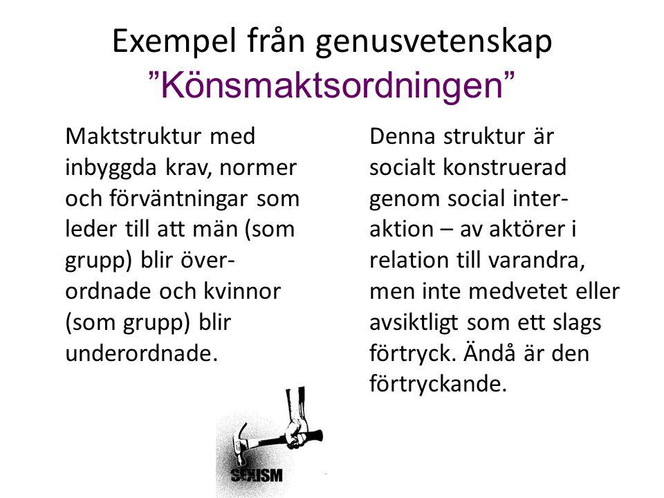 """Exempel från genusvetenskap """"Könsmaktsordningen"""" Maktstruktur med inbyggda krav, normer och förväntningar som leder till att män (som grupp) blir över"""