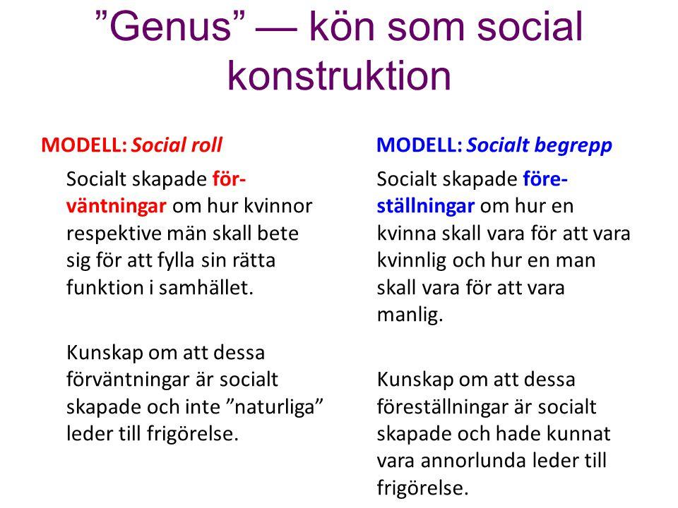 """""""Genus"""" — kön som social konstruktion MODELL: Social roll Socialt skapade för- väntningar om hur kvinnor respektive män skall bete sig för att fylla s"""