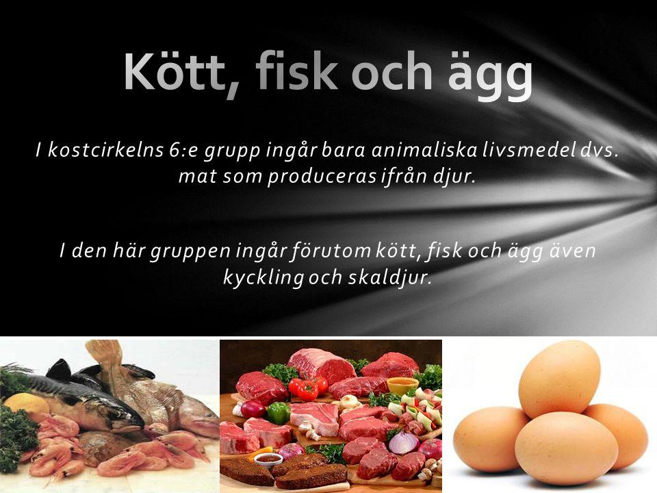I kostcirkelns 6:e grupp ingår bara animaliska livsmedel dvs. mat som produceras ifrån djur. I den här gruppen ingår förutom kött, fisk och ägg även k