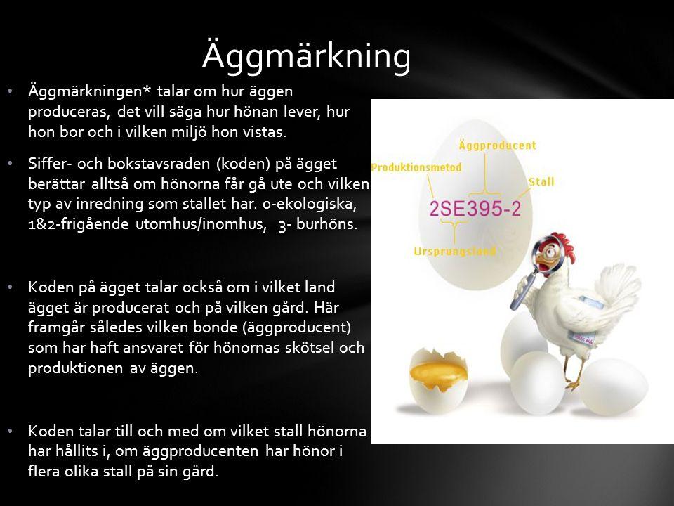 Äggmärkningen* talar om hur äggen produceras, det vill säga hur hönan lever, hur hon bor och i vilken miljö hon vistas. Siffer- och bokstavsraden (kod
