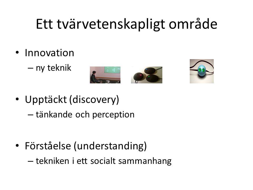 Ett tvärvetenskapligt område Innovation – ny teknik Upptäckt (discovery) – tänkande och perception Förståelse (understanding) – tekniken i ett socialt