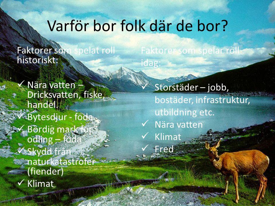 Varför bor folk där de bor? Faktorer som spelat roll historiskt: Nära vatten – Dricksvatten, fiske, handel. Bytesdjur - föda Bördig mark för odling –