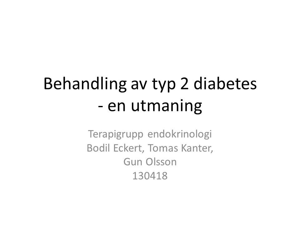 Behandling av typ 2 diabetes - en utmaning Terapigrupp endokrinologi Bodil Eckert, Tomas Kanter, Gun Olsson 130418