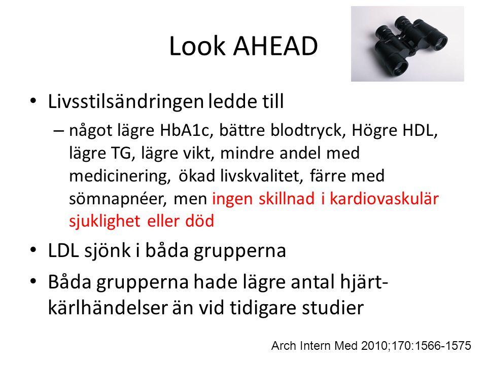 Look AHEAD Livsstilsändringen ledde till – något lägre HbA1c, bättre blodtryck, Högre HDL, lägre TG, lägre vikt, mindre andel med medicinering, ökad l