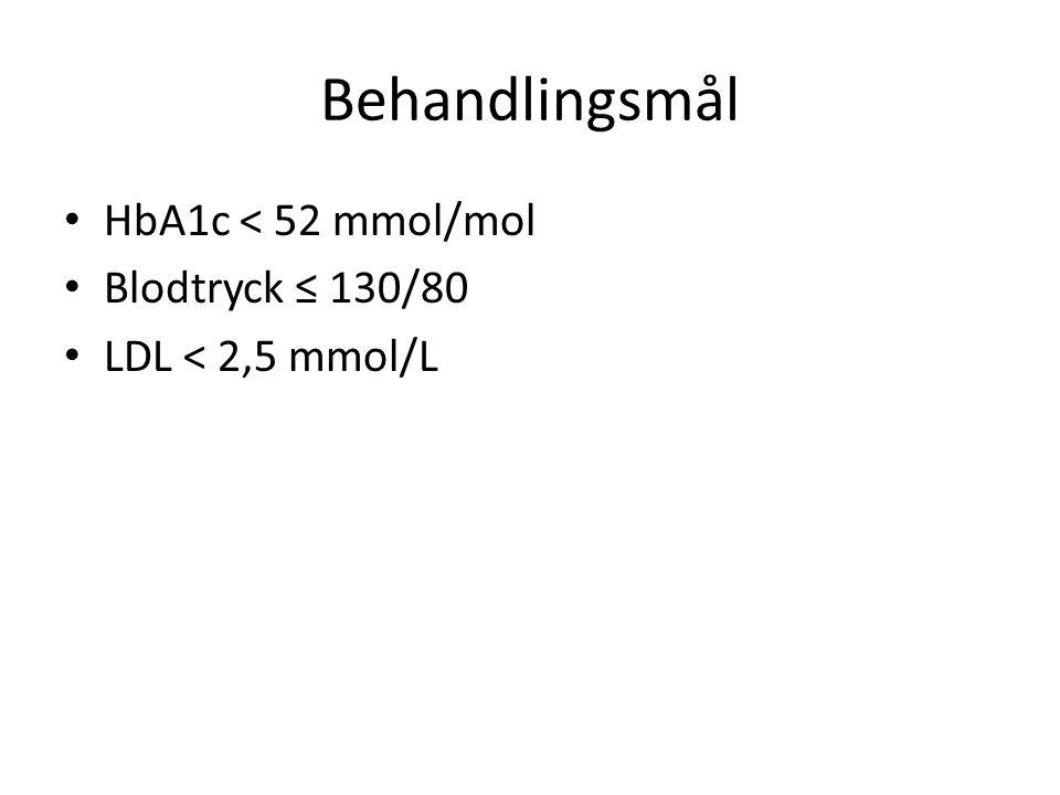 Monica efter 6 månader HbA1c 68 mmol/mol Ökat 1½ kg i vikt Insuman Basal 34 E kl 22 Tabletterna kvar i oförändrad dos F-P-glukos 6-7 mmol/L Hon är på väg mot målet HbA1c 52 mmol/mol