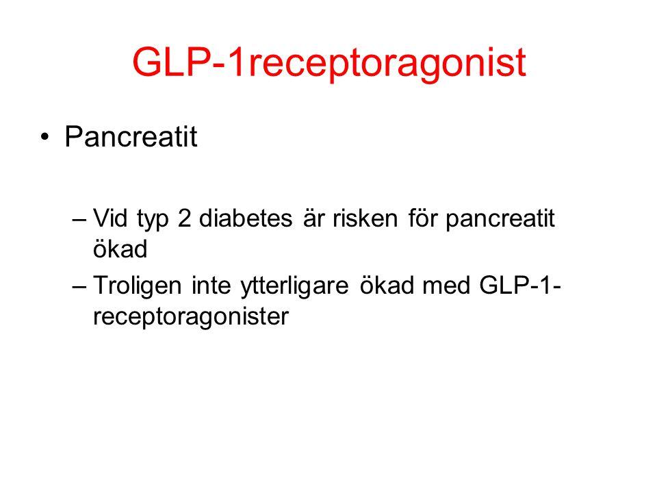 GLP-1receptoragonist Pancreatit –Vid typ 2 diabetes är risken för pancreatit ökad –Troligen inte ytterligare ökad med GLP-1- receptoragonister