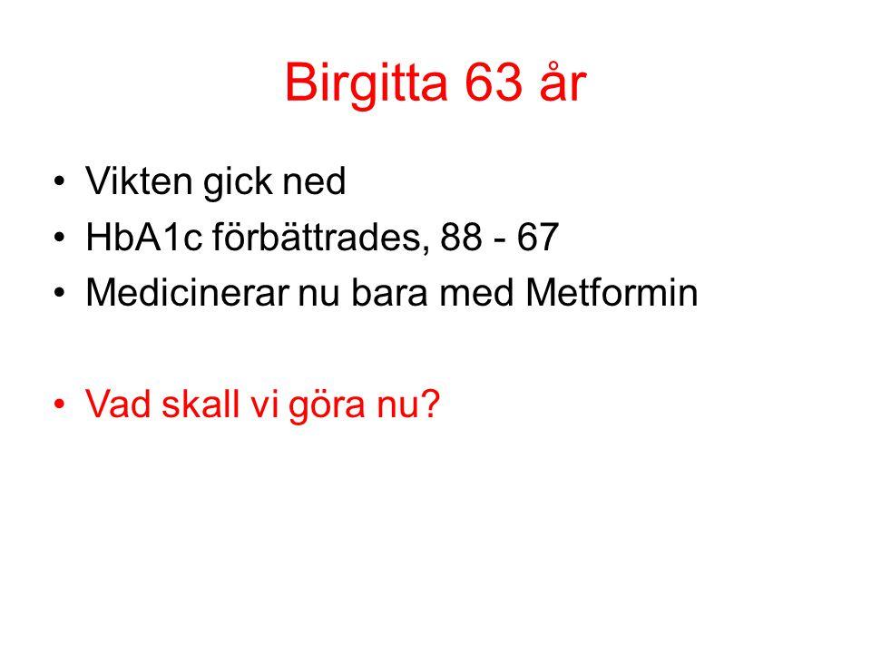 Birgitta 63 år Vikten gick ned HbA1c förbättrades, 88 - 67 Medicinerar nu bara med Metformin Vad skall vi göra nu?