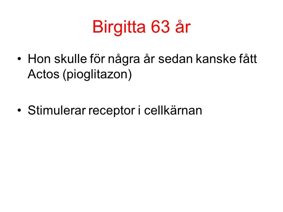 Birgitta 63 år Hon skulle för några år sedan kanske fått Actos (pioglitazon) Stimulerar receptor i cellkärnan