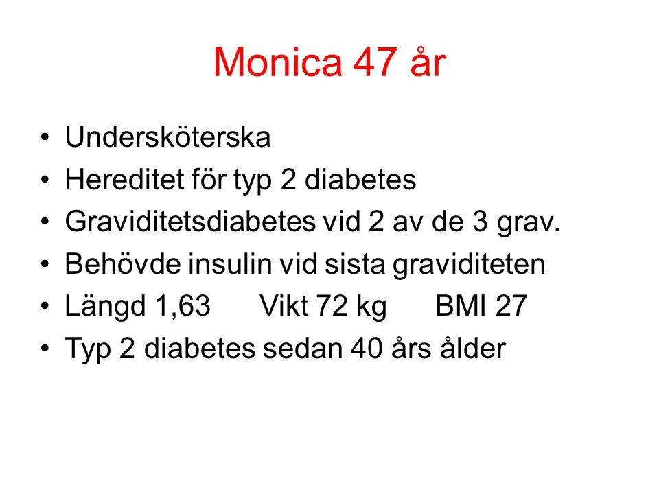Monica 47 år Undersköterska Hereditet för typ 2 diabetes Graviditetsdiabetes vid 2 av de 3 grav. Behövde insulin vid sista graviditeten Längd 1,63 Vik