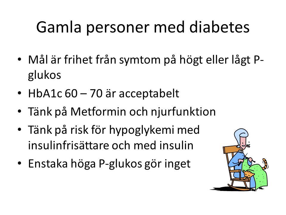Gamla personer med diabetes Mål är frihet från symtom på högt eller lågt P- glukos HbA1c 60 – 70 är acceptabelt Tänk på Metformin och njurfunktion Tän