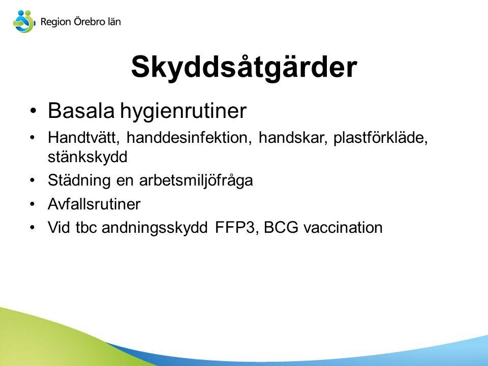 Skyddsåtgärder Basala hygienrutiner Handtvätt, handdesinfektion, handskar, plastförkläde, stänkskydd Städning en arbetsmiljöfråga Avfallsrutiner Vid t