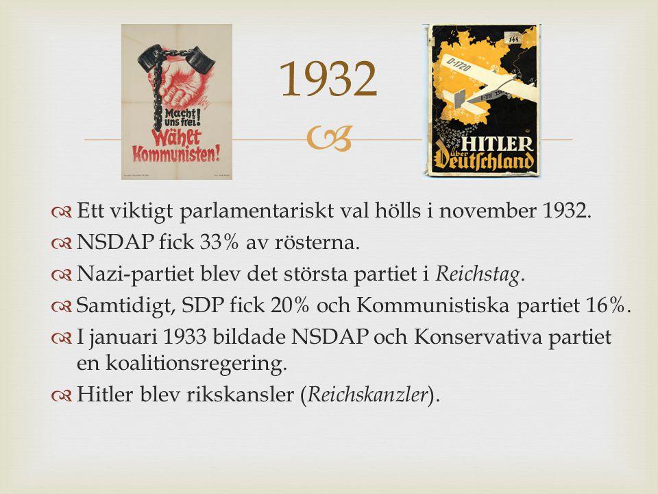   Ett viktigt parlamentariskt val hölls i november 1932.