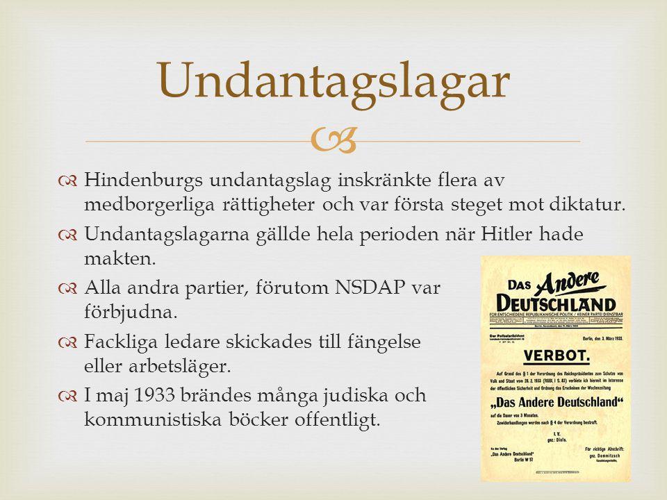   Hindenburgs undantagslag inskränkte flera av medborgerliga rättigheter och var första steget mot diktatur.