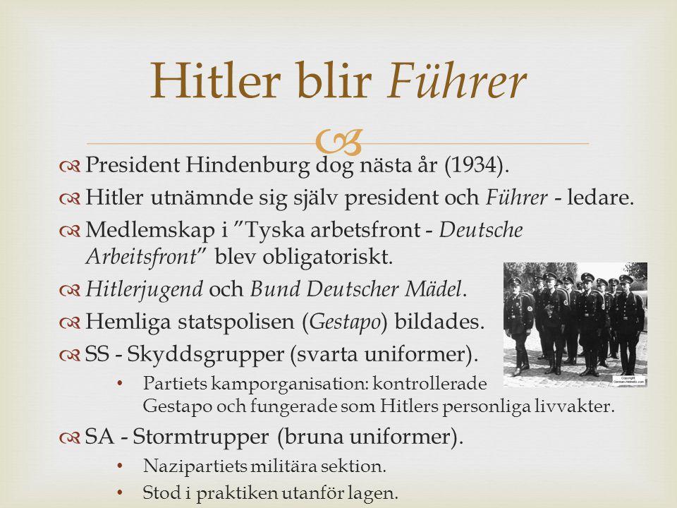   President Hindenburg dog nästa år (1934).
