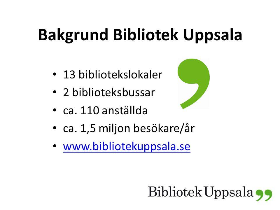 Bakgrund Bibliotek Uppsala 13 bibliotekslokaler 2 biblioteksbussar ca.