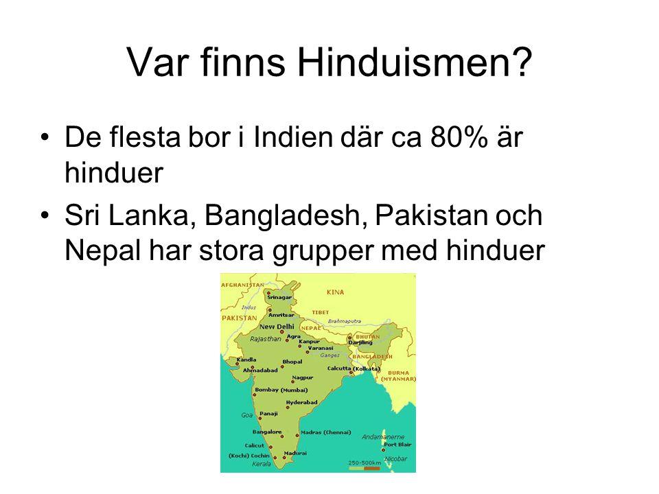 Var finns Hinduismen? De flesta bor i Indien där ca 80% är hinduer Sri Lanka, Bangladesh, Pakistan och Nepal har stora grupper med hinduer