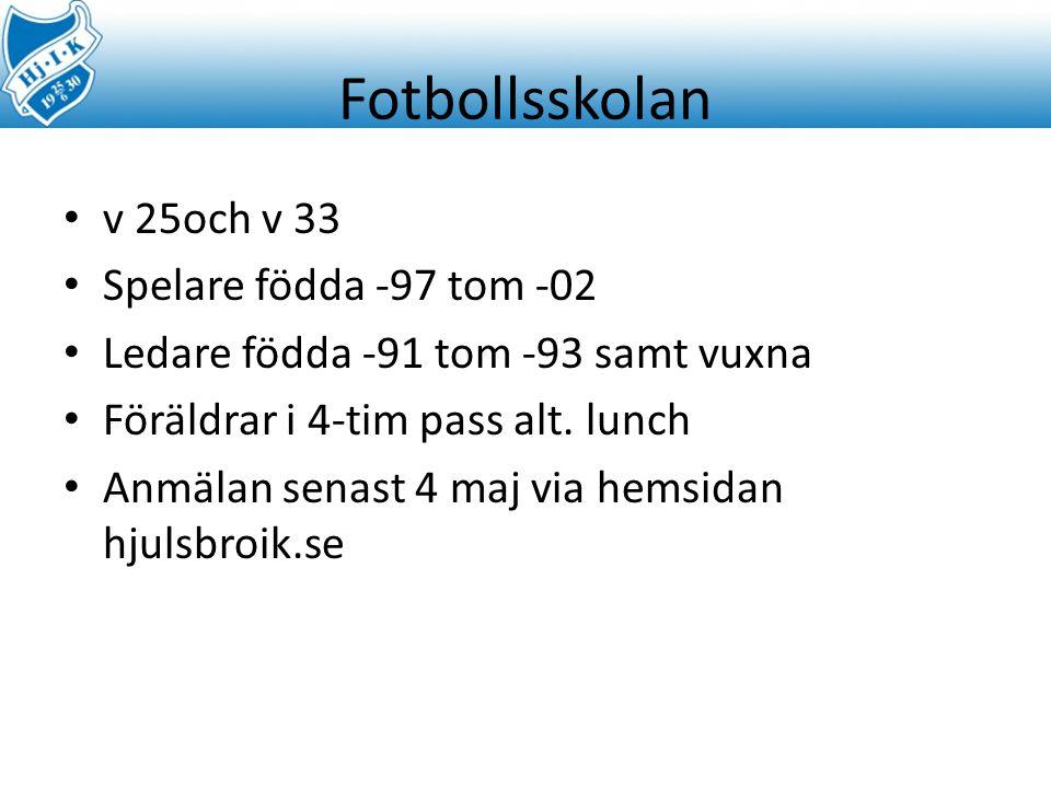Fotbollsskolan v 25och v 33 Spelare födda -97 tom -02 Ledare födda -91 tom -93 samt vuxna Föräldrar i 4-tim pass alt.