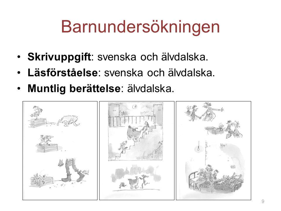 Barnundersökningen Skrivuppgift: svenska och älvdalska. Läsförståelse: svenska och älvdalska. Muntlig berättelse: älvdalska. 9