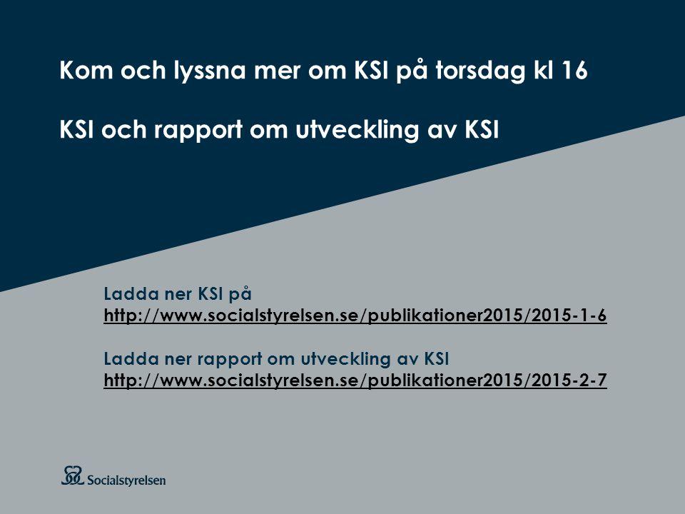 Att visa fotnot, datum, sidnummer Klicka på fliken Infoga och klicka på ikonen sidhuvud/sidfot Klistra in text: Klistra in texten, klicka på ikonen (Ctrl), välj Behåll endast text Rubrik: Century Gothic, bold 26pt Kom och lyssna mer om KSI på torsdag kl 16 KSI och rapport om utveckling av KSI Ladda ner KSI på http://www.socialstyrelsen.se/publikationer2015/2015-1-6 Ladda ner rapport om utveckling av KSI http://www.socialstyrelsen.se/publikationer2015/2015-2-7 http://www.socialstyrelsen.se/publikationer2015/2015-1-6 http://www.socialstyrelsen.se/publikationer2015/2015-2-7