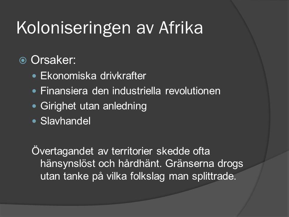 Koloniseringen av Afrika  Orsaker: Ekonomiska drivkrafter Finansiera den industriella revolutionen Girighet utan anledning Slavhandel Övertagandet av