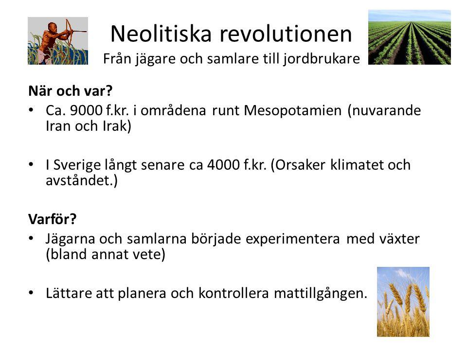 Neolitiska revolutionen Från jägare och samlare till jordbrukare När och var? Ca. 9000 f.kr. i områdena runt Mesopotamien (nuvarande Iran och Irak) I