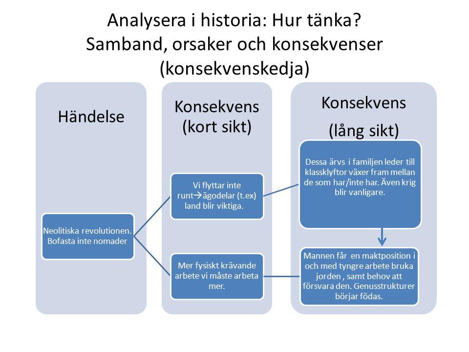 Analysera i historia: Hur tänka? Samband, orsaker och konsekvenser (konsekvenskedja) Konsekvens (lång sikt) Konsekvens (kort sikt) Händelse Neolitiska