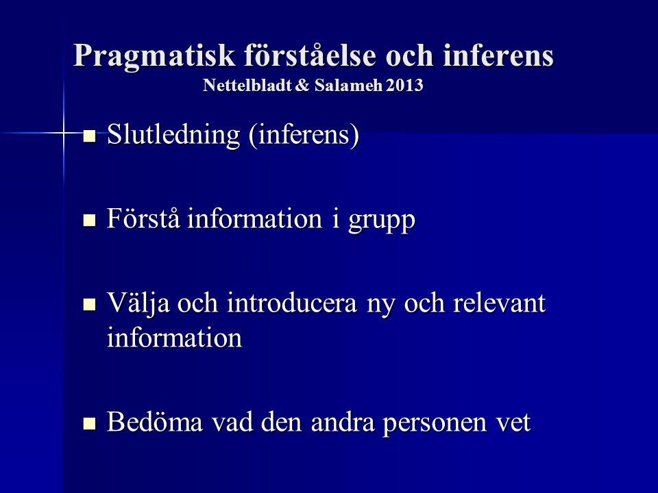Pragmatisk förståelse och inferens Nettelbladt & Salameh 2013 Slutledning (inferens) Slutledning (inferens) Förstå information i grupp Förstå informat