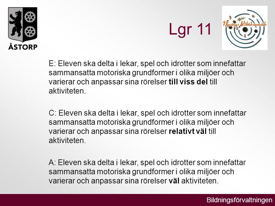 Bildningsförvaltningen Lgr 11 E: Eleven ska delta i lekar, spel och idrotter som innefattar sammansatta motoriska grundformer i olika miljöer och varierar och anpassar sina rörelser till viss del till aktiviteten.