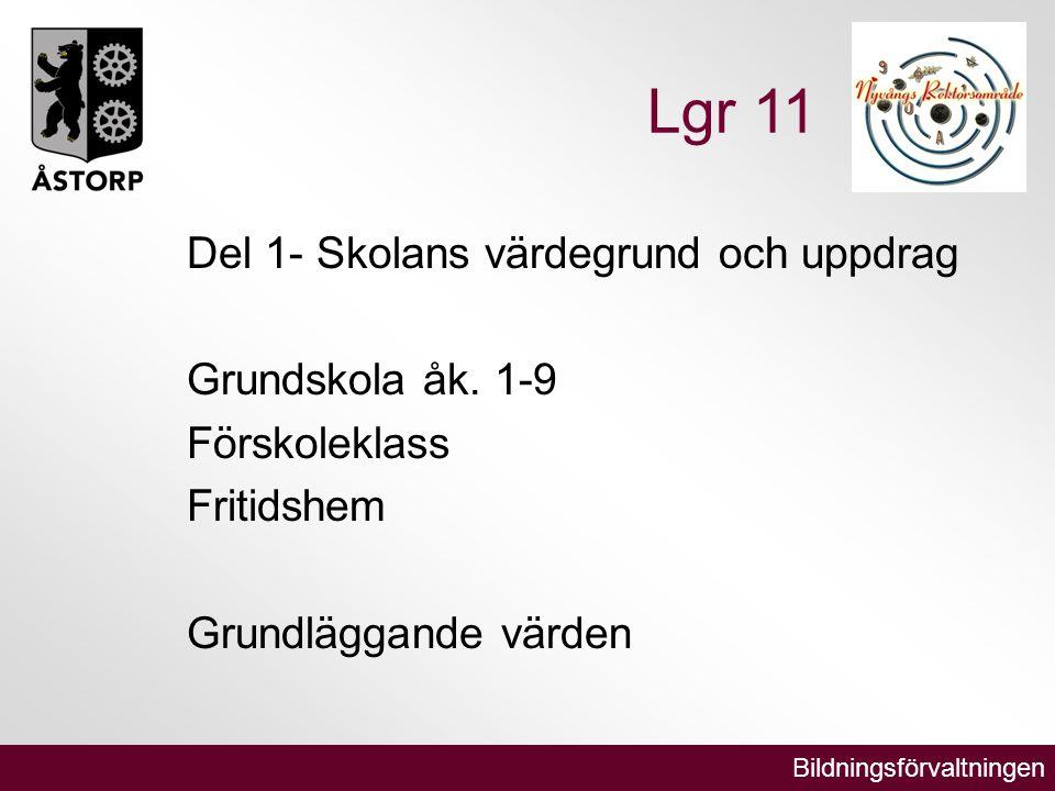 Bildningsförvaltningen Lgr 11 Del 1- Skolans värdegrund och uppdrag Grundskola åk.