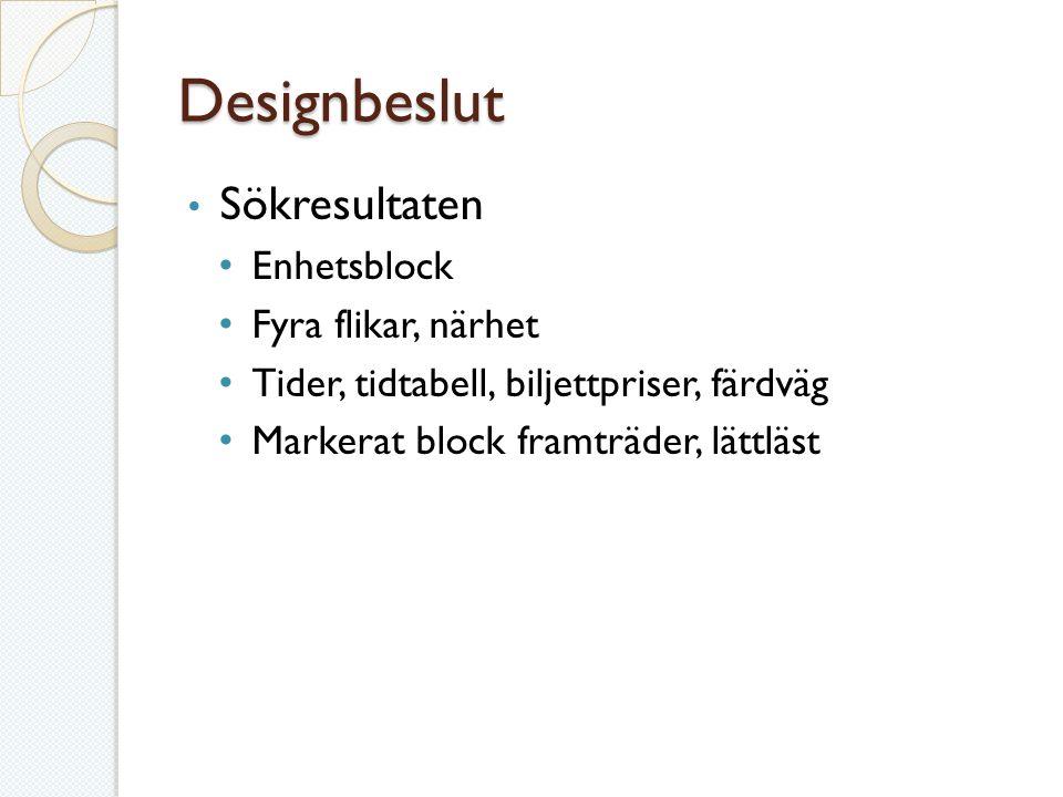 Designbeslut Sökresultaten Enhetsblock Fyra flikar, närhet Tider, tidtabell, biljettpriser, färdväg Markerat block framträder, lättläst