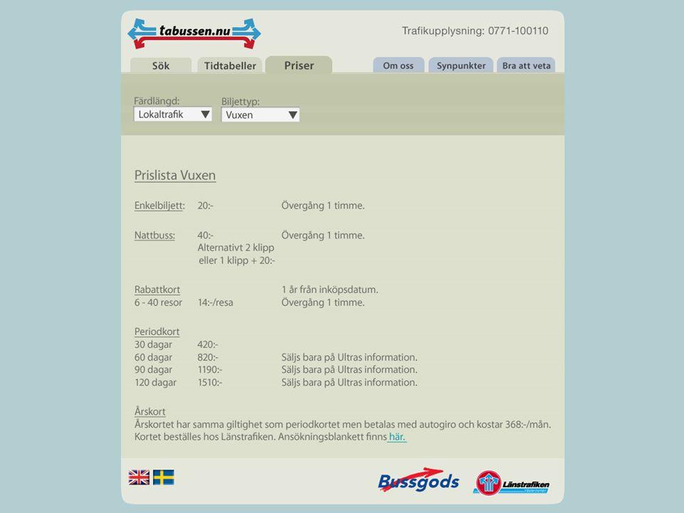 Designbeslut Priser Integrerat i sökfunktionen Alla olika enkelbiljettpriser Tydlig hänvisning till rabattkortprislista Rabattkortsinformation Långfärdspriserna rabattkort