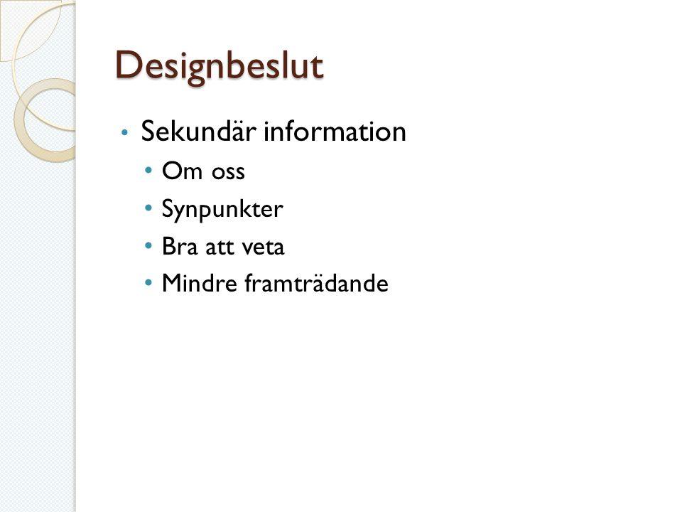 Designbeslut Sekundär information Om oss Synpunkter Bra att veta Mindre framträdande