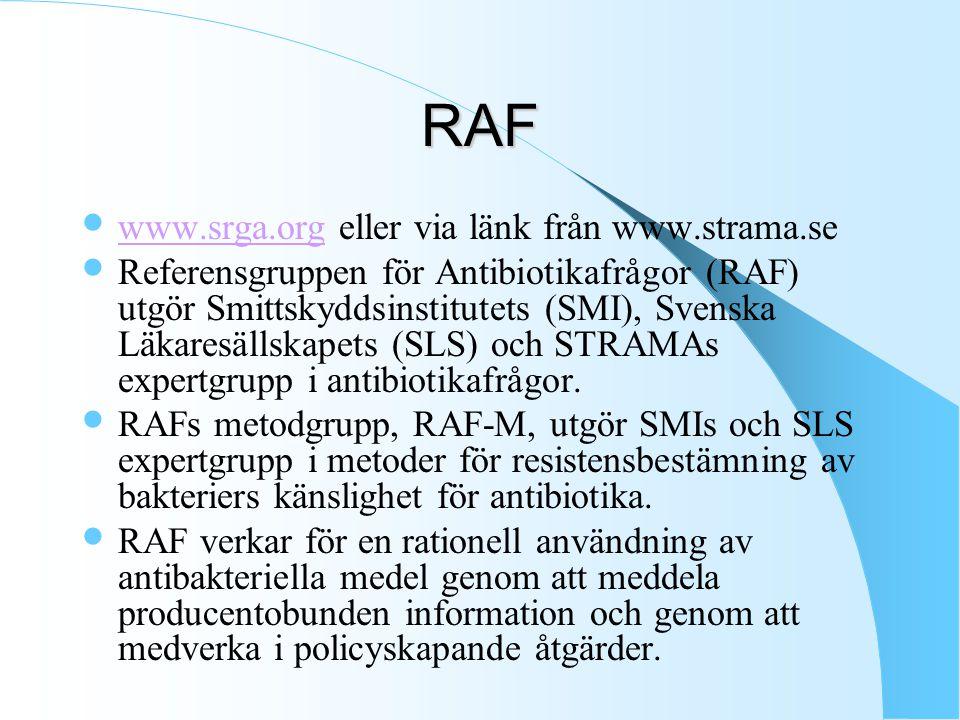 RAF www.srga.org eller via länk från www.strama.se www.srga.org Referensgruppen för Antibiotikafrågor (RAF) utgör Smittskyddsinstitutets (SMI), Svenska Läkaresällskapets (SLS) och STRAMAs expertgrupp i antibiotikafrågor.