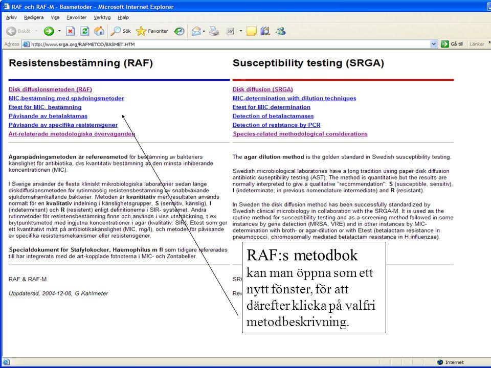RAF:s metodbok kan man öppna som ett nytt fönster, för att därefter klicka på valfri metodbeskrivning.