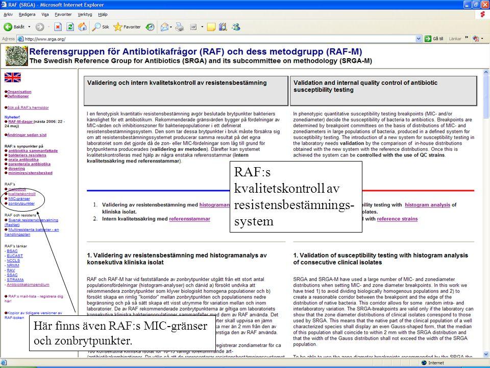 RAF:s kvalitetskontroll av resistensbestämnings- system Här finns även RAF:s MIC-gränser och zonbrytpunkter.