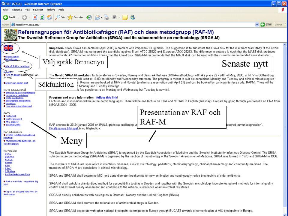 Meny Presentation av RAF och RAF-M Senaste nytt Välj språk för menyn Sökfunktion