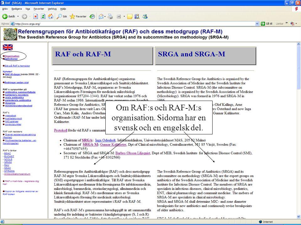 Om RAF:s och RAF-M:s organisation. Sidorna har en svensk och en engelsk del.