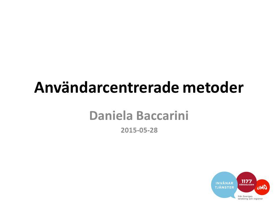 Användarcentrerade metoder Daniela Baccarini 2015-05-28