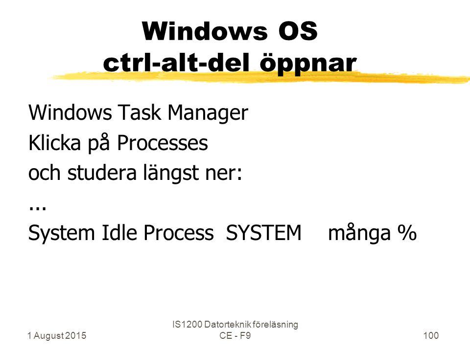 1 August 2015 IS1200 Datorteknik föreläsning CE - F9100 Windows OS ctrl-alt-del öppnar Windows Task Manager Klicka på Processes och studera längst ner:...